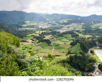 View of farmland and villages near Furnas, Sao Miguel, Azores Islands, Portugal