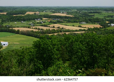 view of the farmlands from the top of a mountain
