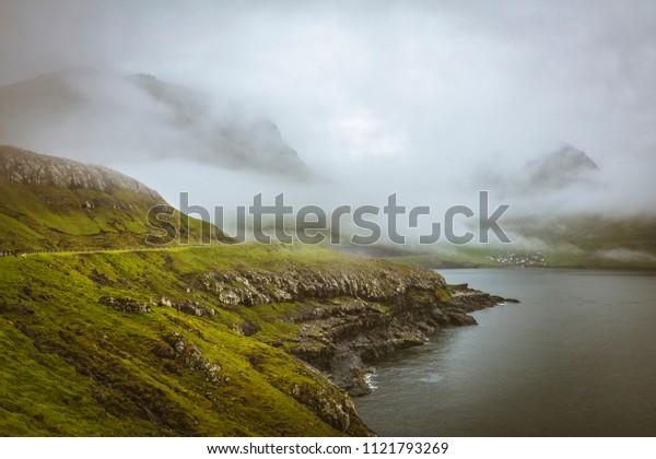 view of faroe islands in rainy  day