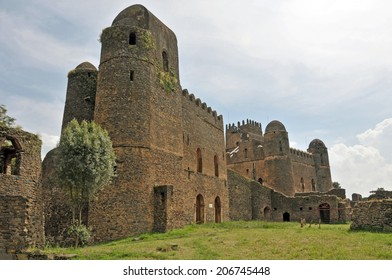 View of Fasil Fasil Ghebbi castle located in Gondar, Ethiopia.