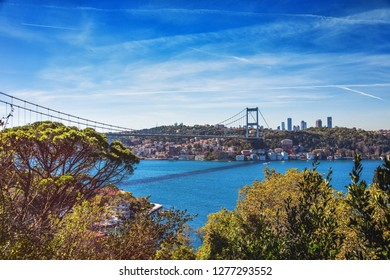 View of Fatih Sultan Mehmet Bridge in Beykoz district in Istanbul through the Mihribat nature park