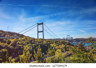 View of Fatih Sultan Mehmet Bridge in Beykoz district in Istanbul