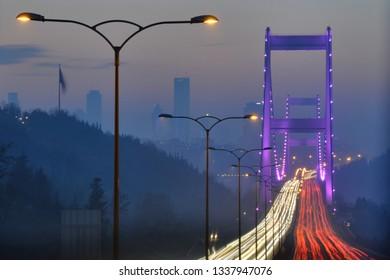 A view of Fatih Sultan Mehmet Bridge in Istanbul, Turkey.