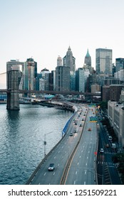 View of FDR Drive and the Financial District, from the Manhattan Bridge in New York City
