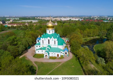View of the Fedorovsky Cathedral on a sunny May day. Tsarskoye Selo, St. Petersburg. Russia
