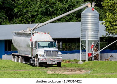 View of a Feed Truck delivering feed to a chicken house