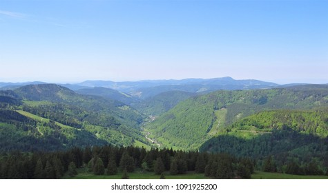 View from the Feldberg over the Black Forest in de direction of Todtnau on a sunny day in the summer.