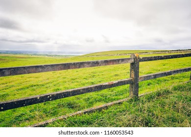 View of a fence on the Cliffs of Moher, Ireland