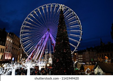 View of Ferries wheel in Christmas market in Lille, France on Nov. 19, 2016