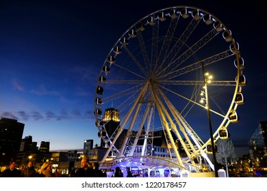 View of Ferries wheel in Rotterdam, Netherlands on Oct. 28, 2018