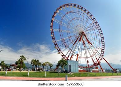 View of Ferris wheel on Batumi boulevard. Georgia