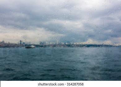 View from ferry boat in stormy day in Istanbul, Turkey