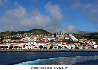 View from the ferry to the capital of the Faial Azores
