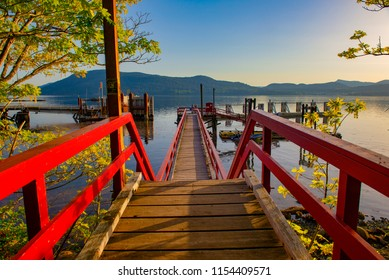 View of the ferry dock at Vesuvius Bay on Salt Spring Island, British Columbia, Canada