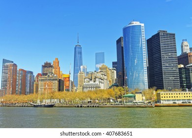View from Ferry on Battery Park City in New York Harbor, Manhattan, USA. Hudson River.