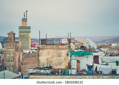 View of Fez City from the roof top terrace. Fes el Bali Medina, Morocco, Africa.