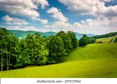 View of fields and distant mountains in the rural Potomac Highlands of West Virginia.