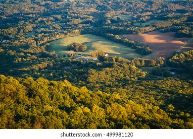 View of fields and houses from Pilot Mountain State Park, North Carolina.