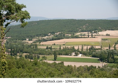View of fields and woods in Provence area of France