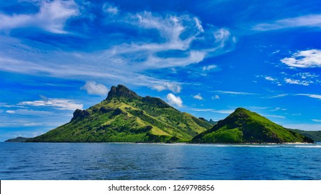 View of Fiji's tropical islands from a cruise, popular as holiday destinations