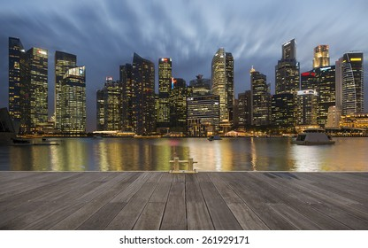 view of Financial Building in Marina Bay with twilight sky , Singapore February 2 ,2015