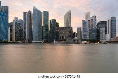 view of Financial Building in Marina Bay, Singapore with twilight sky