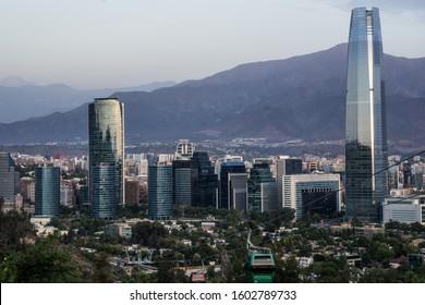 View of the financial center of Santiago de Chile