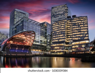 View to the financial district of London, Canary Wharf, in the evening