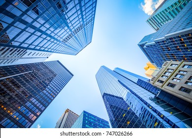 Up view in financial district, Manhattan, New York