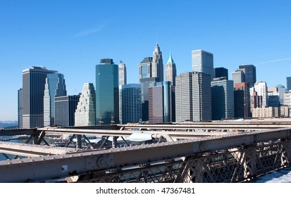 A view of the financial district skyline, Manhattan from the Brooklyn bridge