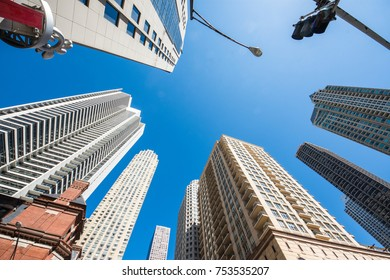 Up view in financial districtg, Chicago, USA beautiful landscape