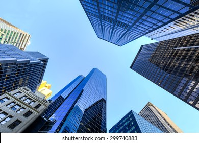Up view in financial districtg, Manhattan, New York