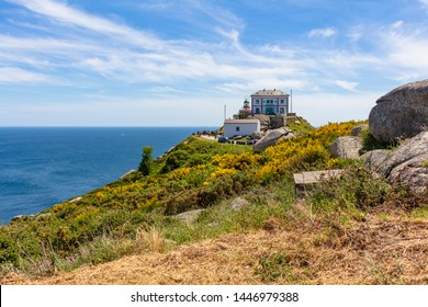 View of the Finisterre lighthouse, a point where in the past it was considered by Europeans at the end of the world, Galicia, Spain