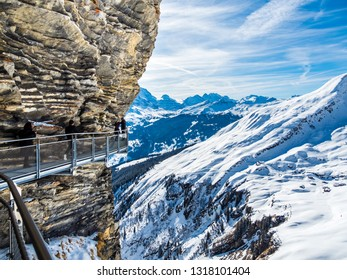 View from the First Cliff Walk on the slopes of Reeti, Grindelwald, First, Interlaken-Oberhasli, Bernese Oberland, Canton Bern, Switzerland, Feb 2017