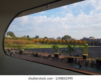 View from the first floor at the Museum in Museum District in Amsterdam the Netherlands