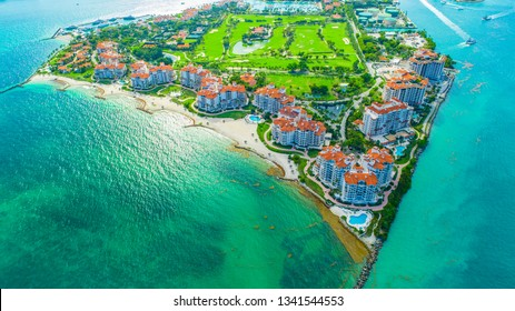 View of Fisher Island in Miami Beach, South Beach. Florida. USA.