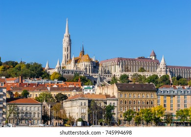 View to  Fisherman's Bastion with clear blue sky background, Budapest, Hungary