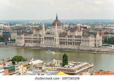 View from Fisherman's Bastion, located at the heart of Buda's Castle District, on a Parliament and Pest bank in Budapest,Hungary