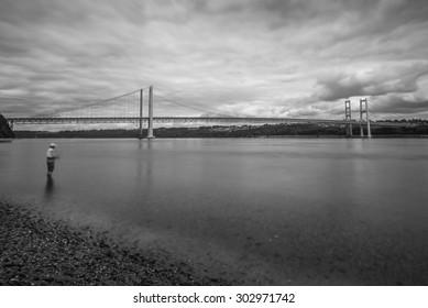 view of fishing around Tacoma narrow bridge with  on cloudy day.Wa,usa