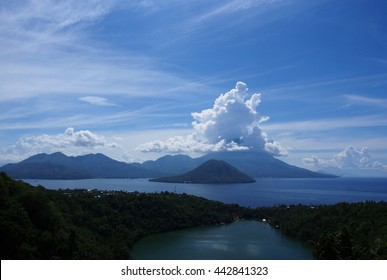 View from a fishing village in the Moluccas islands, Indonesia