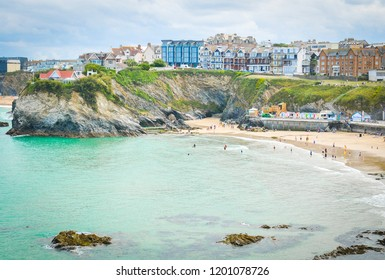 View of the Fistral bay in Newquay, major tourist area and surfing sport in Cornwall, England