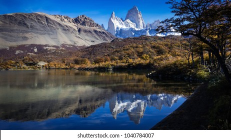 View of Fitz Roy mountain (also known as Chalten) from Capri lake, during the morning. Located in Santa Cruz, Patagonia Argentina. Natural landscape