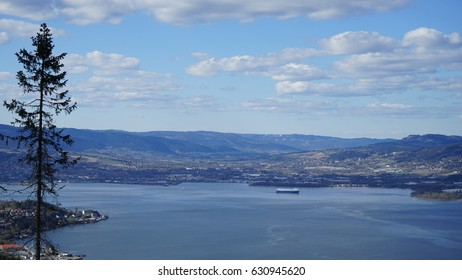 View of fjord in Drammen from local mountain and Drammen city, Norway ,Buskerud.