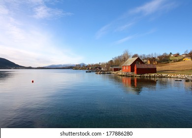View of Fjord Water and Blue Sky from Rosendal, Norway