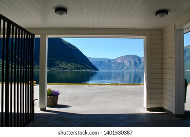 View of fjords in Eidfjord during summer in sunlight