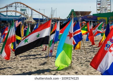 View of the flags installed at the beach