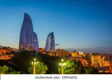 View to Flame towers, landmark of Baku, Azerbaijan