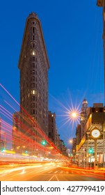 View to Flatiron Building in New Your at Night