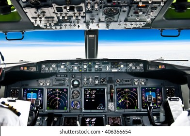 View from the flight deck of a modern jet airliner plane