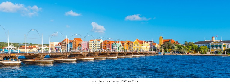 View of the floating bridge in Willemstad, Curacao, Netherlands. Copy space for text